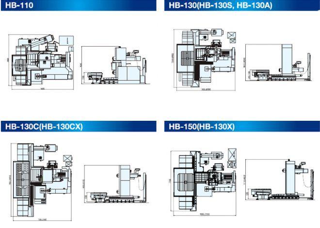 Горизонтально-расточные станки HB-серия - чертеж