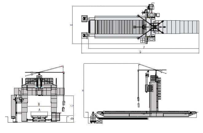 Продольно-фрезерные станки НРМ-M-серия - чертеж