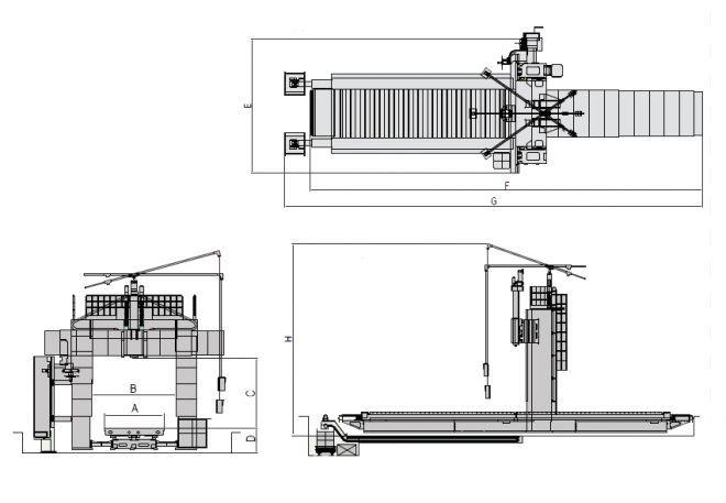 Продольные станки с 3 шпиндельными бабками HTM-30S - чертеж