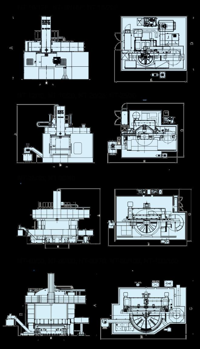 Токарно-карусельные станки с ЧПУ NT-серия - чертеж
