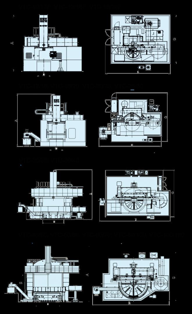 Токарно-карусельные станки с ЧПУ VTC-серия - чертеж